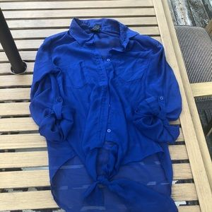 Blue Sheer Tie Front Button Down Shirt